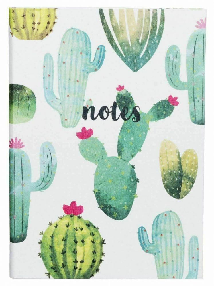 Cactus Linen Case Bound A5 Notebook In 100 Ruled White Sheets